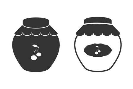 Cherry jam jar editable icon, flat style design, black color, vector Çizim