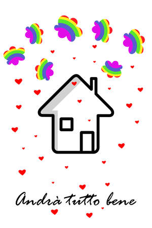 House icon with clouds in colors of rainbow, red hearts. Text in italian, slogan during pandemia