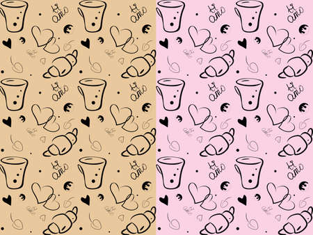 LOVE coffee seamless pattern. Hand drawn sketch style illustration of coffee cup, hearts, brioche, italian lettering Ti amo