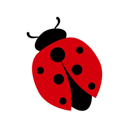 Ladybug colored icon. Flat graphic illustration. Cartoon shape of popular insect in black and red