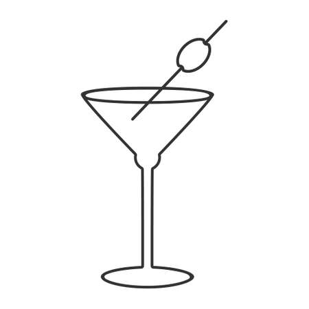 Cocktail glass icon, alcoholic drink, dry Martini with olive, editable outline illustration