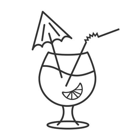 Cocktail glass icon, alcoholic drink with decorative umbrella, orange fruit, editable outline illustration