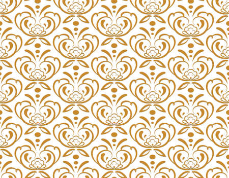Luxury geometric seamless pattern. Hand drawn graphic design, nature flourish leaves elements, gold 3 D line texture on whit background. Modern wallpaper background 矢量图像
