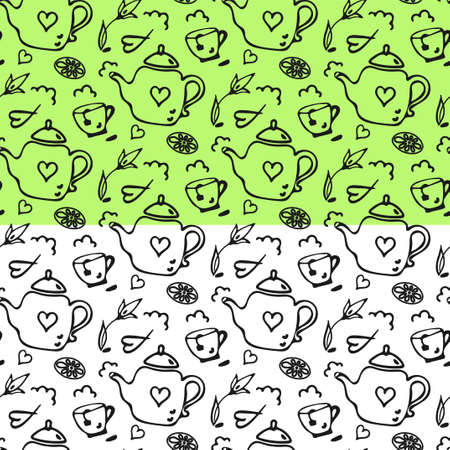 Doodle tea pot, cup seamless pattern. Hand drawn cartoon style, monochrome grey line. White backround is easy to change