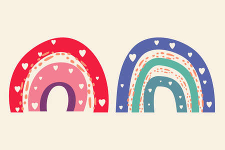 Vector cute rainbow in boho minimalistic style. Artistic modern arch shapes set with hearts cut off