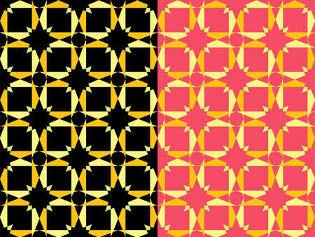 Star perfect geometric ornament seamless pattern. Gold yellow colored luxuty illustration. Square tile based composition. Black or pink backgroun. Vector