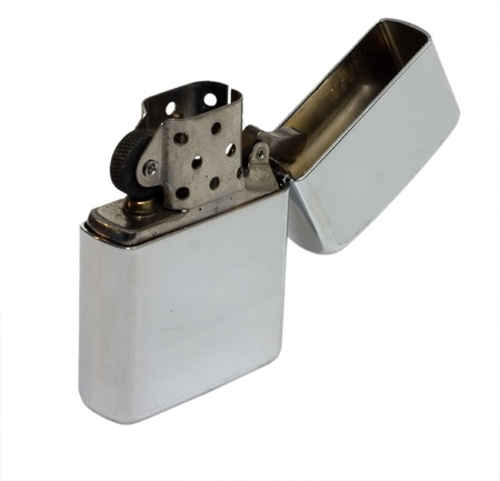 petrol lighter on white background photo