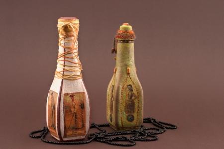 decoupage: bottles handmade decoupage and beads