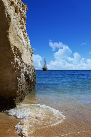 Pirate ship on the coast photo
