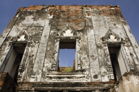 wall of ruins castle in Phra Narai Rachanivej Lopburi Thailand Stock Photo