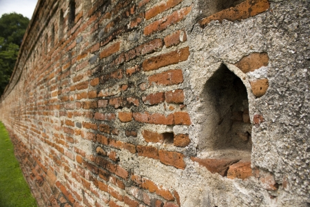 old brick wall in thai style