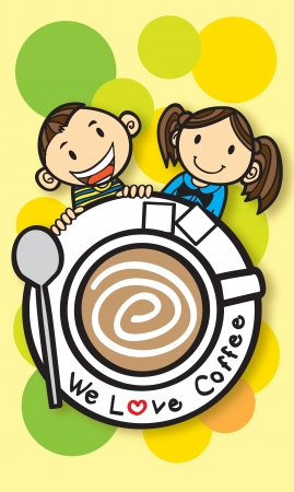 boy and girl with coffee Vector