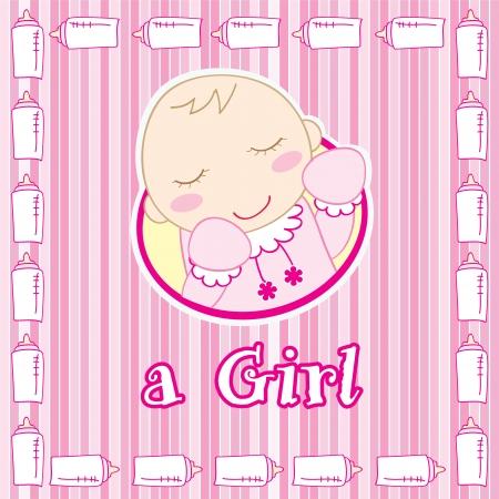 a baby girl sleeping, Vector illustration