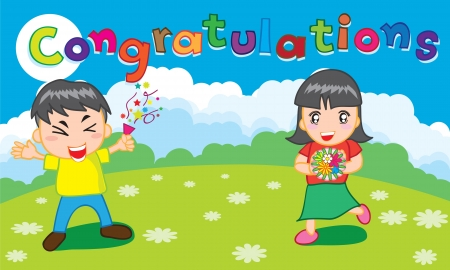 Funny cartoon kids for congratulations