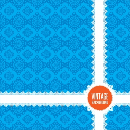 Vintage wallpaper background  blue pattern  Illustration