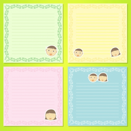 Abstract illustration of the notepad with kids Illustration