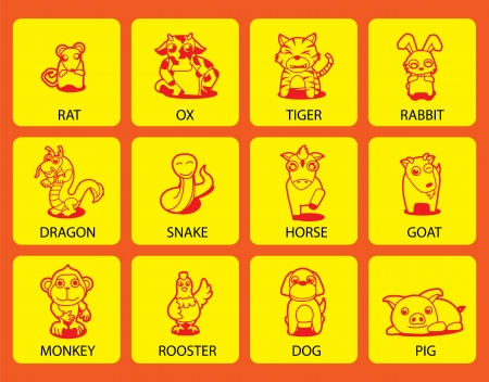 12 Chinese Zodiac animal stickers,cartoon  Vector