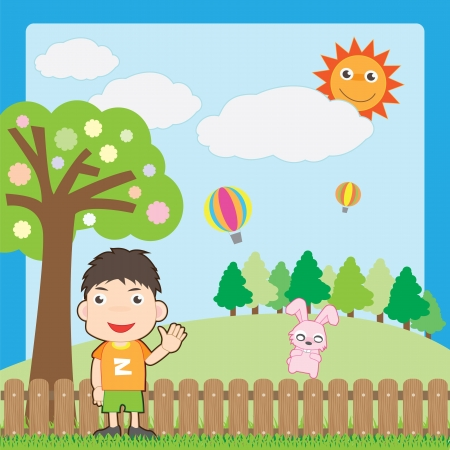 boy and pink rabbit on garden Vector