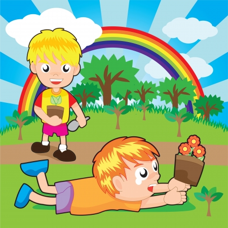sowing: boys planting little plants on the forest. Vector Illustration.