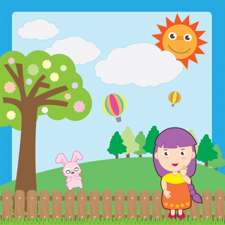 girl and pink rabbit on garden Vector