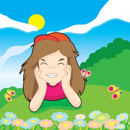 Illustration a cute little girl and butterfly Vector