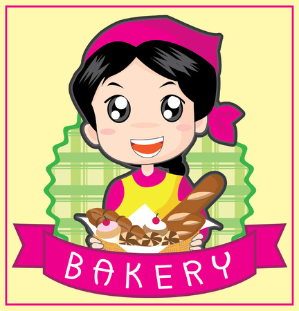 Illustration a cute little girl bakery logo