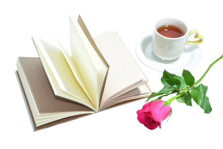tea cup of love , handmade book and pink rose photo