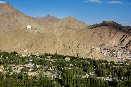 shanti: Namgyal Tsemo Gompa and Leh village Ladakh India  View from Shanti stupa