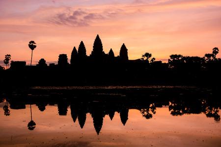 siem reap: Angkor Wat silhouette at sunrise, Siem Reap, Cambodia