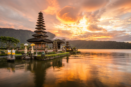 Pura Ulun Danu Bratan Hindu temple on Bratan lake Bali Indonesia