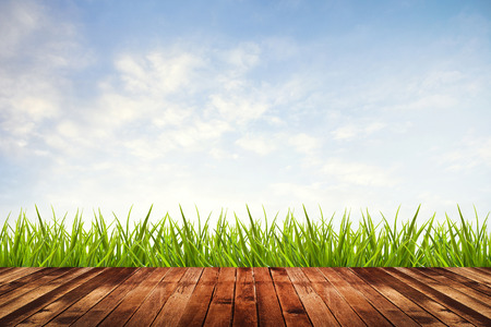 Fresh spring green grass with blue sky and wood floor photo