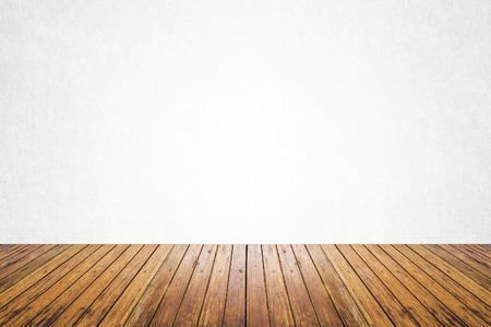 interior spaces: Empty room of white cement plaster wall and wood floor Stock Photo