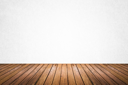 white wood floor: Empty room of white cement plaster wall and wood floor Stock Photo