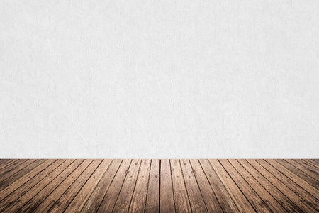 timber floor: Empty room of gray cement plaster wall and brown wood floor Stock Photo
