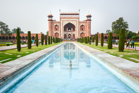 AGRA INDIA  JULY 13 2014 : Front gate to Taj Mahal famous historical monument in Agra India.