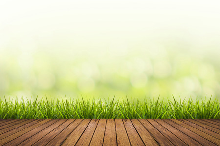 green field: Fresh spring grass with green nature blurred background and wood floor
