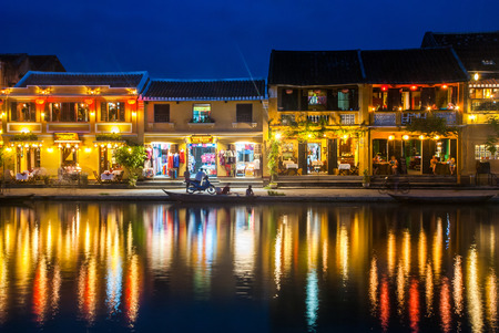 recognized: HOI AN VIETNAM  OCTOBER 24 2012 : Hoi An ancient town at night Hoi An is recognized as a World Heritage Site by UNESCO. Editorial