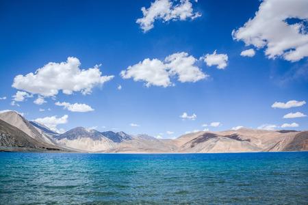 salt water: Pangong lake , the highest salt water lake in the world at Ladakh, Jammu and Kashmir state, India Stock Photo