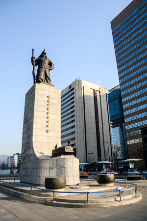 admiral: SEOUL, SOUTH KOREA - OCTOBER 3, 2014 : Statue of Admiral Yi Sun-shin in Gwanghwamun Square in Seoul, South Korea. Admiral Yi Sun-shin who is leader for fighting with Japanese millitary.