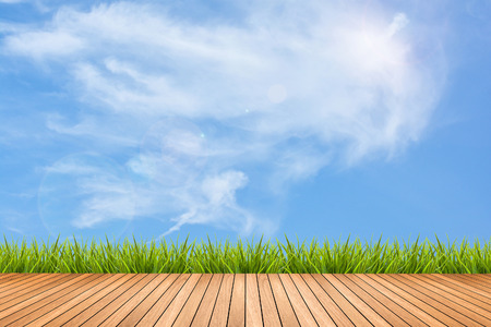 Wood texture terrace with fresh green grass under the blue sky and clouds of summer, use for background Zdjęcie Seryjne - 43218414