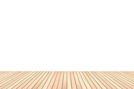 white wood floor: Light brown wood floor texture isolated on white background for copy space Stock Photo