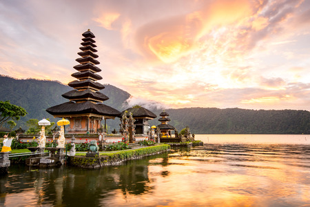 indonesia culture: Pura Ulun Danu Bratan, Hindu temple on Bratan lake, Bali, Indonesia