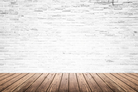 white wood floor: Old interior room with broken white brick wall and grunge wood floor texture