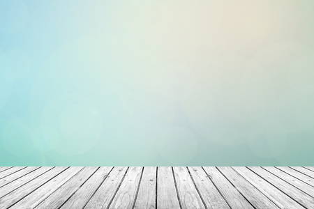 Gray Grey wooden floor with abstract turquoise blurred background in pastel sky tone color Zdjęcie Seryjne