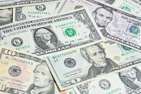 money notes: American Dollar bills ,closeup Washington on one dollar bill - use for background Stock Photo