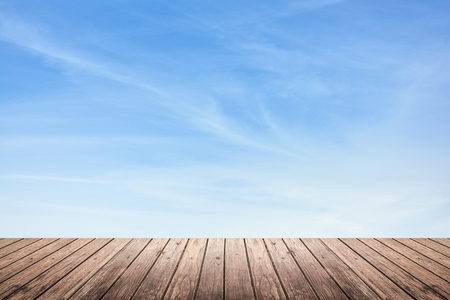 brown grunge wooden floor and blur sky with cirrus clouds