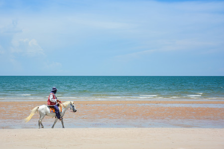huahin: Man riding the white horse on the beach among beautiful seascape of Huahin, Thailand