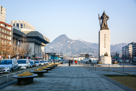 millitary: SEOUL, SOUTH KOREA - OCTOBER 3, 2014 : Statue of Admiral Yi Sun-shin in Gwanghwamun Square in Seoul, South Korea. Admiral Yi Sun-shin who is leader for fighting with Japanese millitary.