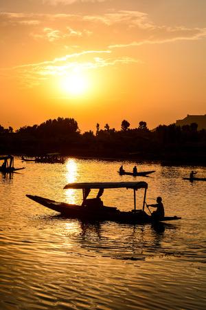 kashmir: Sunset Dal Lake in Srinagar, Jammu and Kashmir state, India