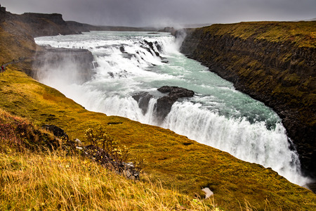 in europe: Gullfoss waterfall located in the canyon of Hvita river in Southwest Iceland Stock Photo